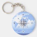 Blue Compass Rose World Map Keychain 2