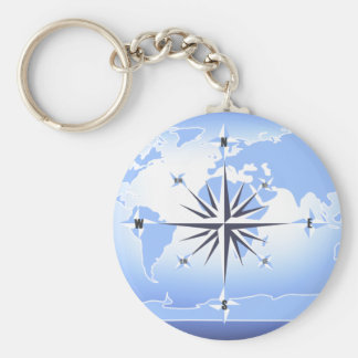 Blue Compass Rose World Map Keychain 2