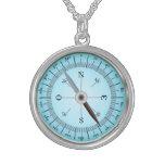 blue compass round pendant necklace