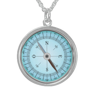 blue compass round pendant necklace