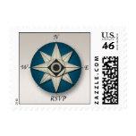 Blue Compass RSVP Postage Stamps
