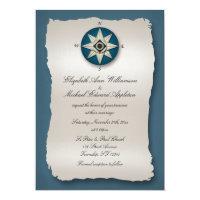 Blue Compass Wedding Invitations