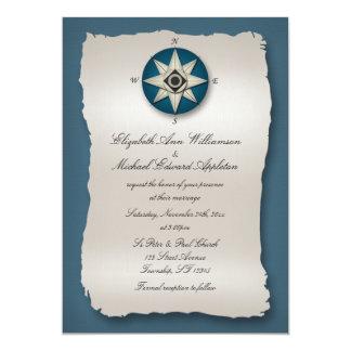"Blue Compass Wedding Invitations 5"" X 7"" Invitation Card"