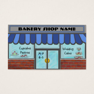 Blue completely customizable bakery shop cards