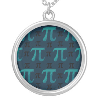 Blue Complex Pi Round Pendant Necklace