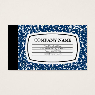 blue composition book business card