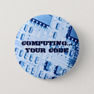 Blue Computer Motherboard Pinback Button