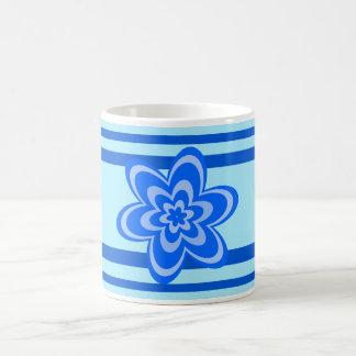 Blue concentric flowers coffee mug