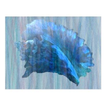 Beach Themed Blue Conch Seashell Art Postcard