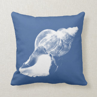 Blue Conch Shell Square Pillow