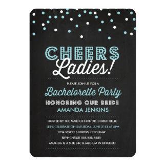 Blue Confetti Bachelorette Party Invite