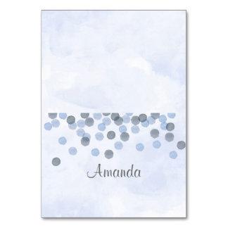 Blue Confetti Watercolor Place Card