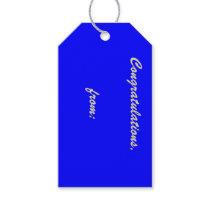 Blue Congratulations Gift Tag (gold script)