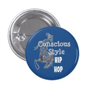 Blue Conscious Style Hip Hop button