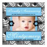 """Blue Contemporary Birth Announcement Photo Card 5.25"""" Square Invitation Card"""