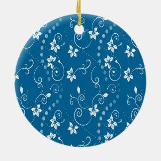 BLUE CONTEMPORARY FLOWER PRINT CERAMIC ORNAMENT