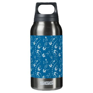 BLUE CONTEMPORARY FLOWER PRINT INSULATED WATER BOTTLE
