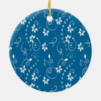 BLUE CONTEMPORARY FLOWER PRINT Double-Sided CERAMIC ROUND CHRISTMAS ORNAMENT
