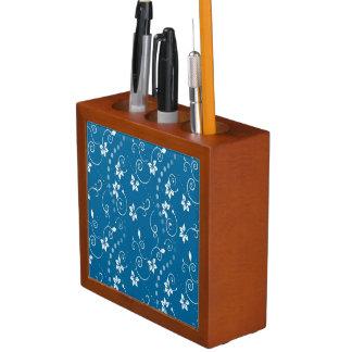 BLUE CONTEMPORARY FLOWER PRINT Pencil/Pen HOLDER