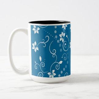 BLUE CONTEMPORARY FLOWER PRINT Two-Tone COFFEE MUG
