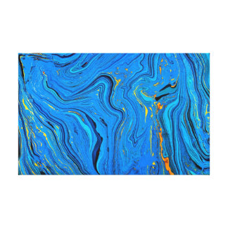 Blue contour background canvas print