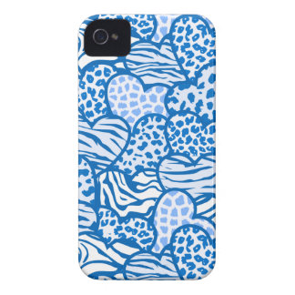 Blue contour girly animal print hearts Case-Mate iPhone 4 cases