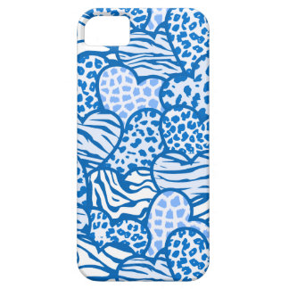 Blue contour girly animal print hearts iPhone SE/5/5s case