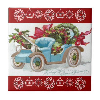 Blue Convertible with Holly Wreaths and Red Bows Ceramic Tile