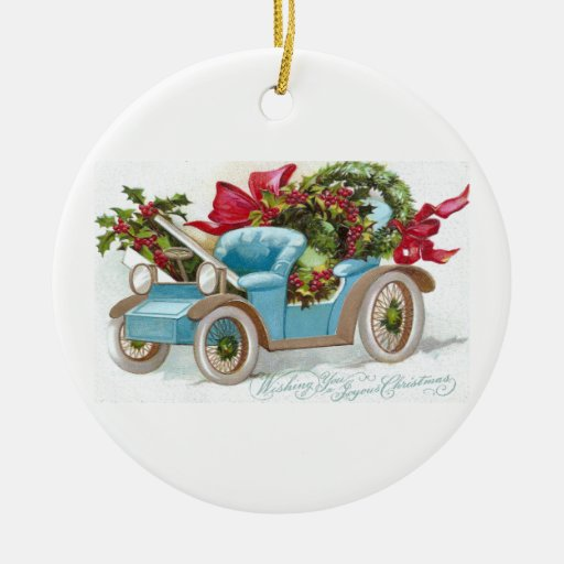 Blue Convertible with Holly Wreaths and Red Bows Double-Sided Ceramic Round Christmas Ornament