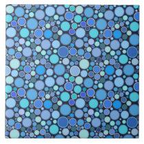 Blue cool bubbles pattern ceramic tile