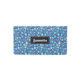Blue cool bubbles pattern checkbook cover