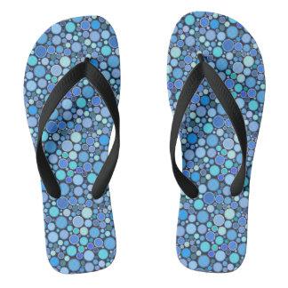 Blue cool bubbles pattern flip flops