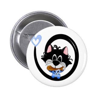 Blue Cool Cat Button