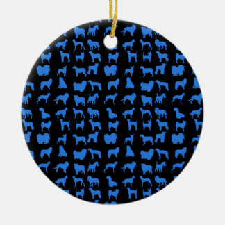 Blue Cool Dog Double-Sided Ceramic Round Christmas Ornament
