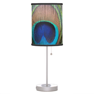 Blue Copper Peacock Feather Close-Up Table Lamp