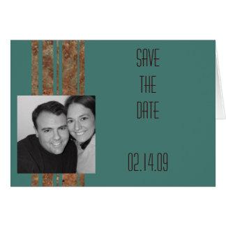 Blue & Copper Stripe Photo Save the Date Card