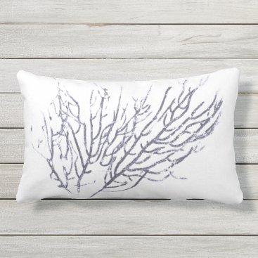 Beach Themed Blue Coral 3 Lumbar Pillow