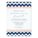 Blue Coral Chevron Bridal Shower Invitation Cards