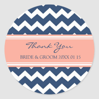 Blue Coral Chevron Thank You Wedding Favor Tags Classic Round Sticker