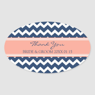 Blue Coral Chevron Thank You Wedding Favor Tags Oval Sticker
