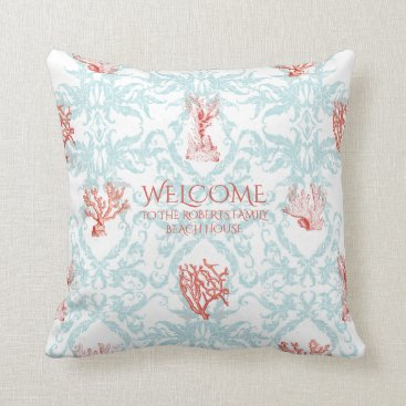 Beach Themed Blue Coral Damask Beach House Welcome Sign Family Throw Pillow