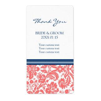 Blue Coral Damask Pattern Wedding Labels