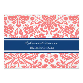 """Blue Coral Damask Rehearsal Dinner Party 5"""" X 7"""" Invitation Card"""