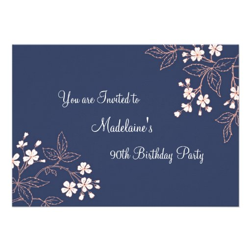 Blue Coral Floral 90th Birthday Party Invitations
