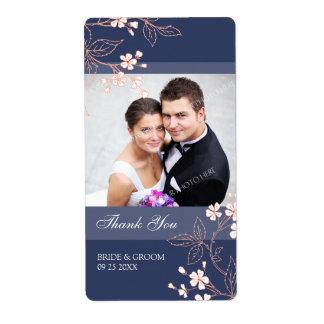 Blue Coral Floral Photo Wedding Labels