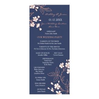 Blue Coral Floral Wedding Program Rack Cards