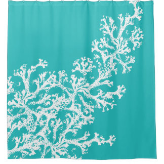 Blue Coral Graphic Shower Curtain