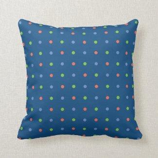 Blue Coral Green Mini Polka Dot Pattern on Navy Throw Pillow