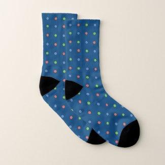 Blue Coral Green Mini Polka Dots on Dark Blue Socks