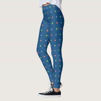 Blue Coral Green Polka Dot Pattern on Dark Blue Leggings